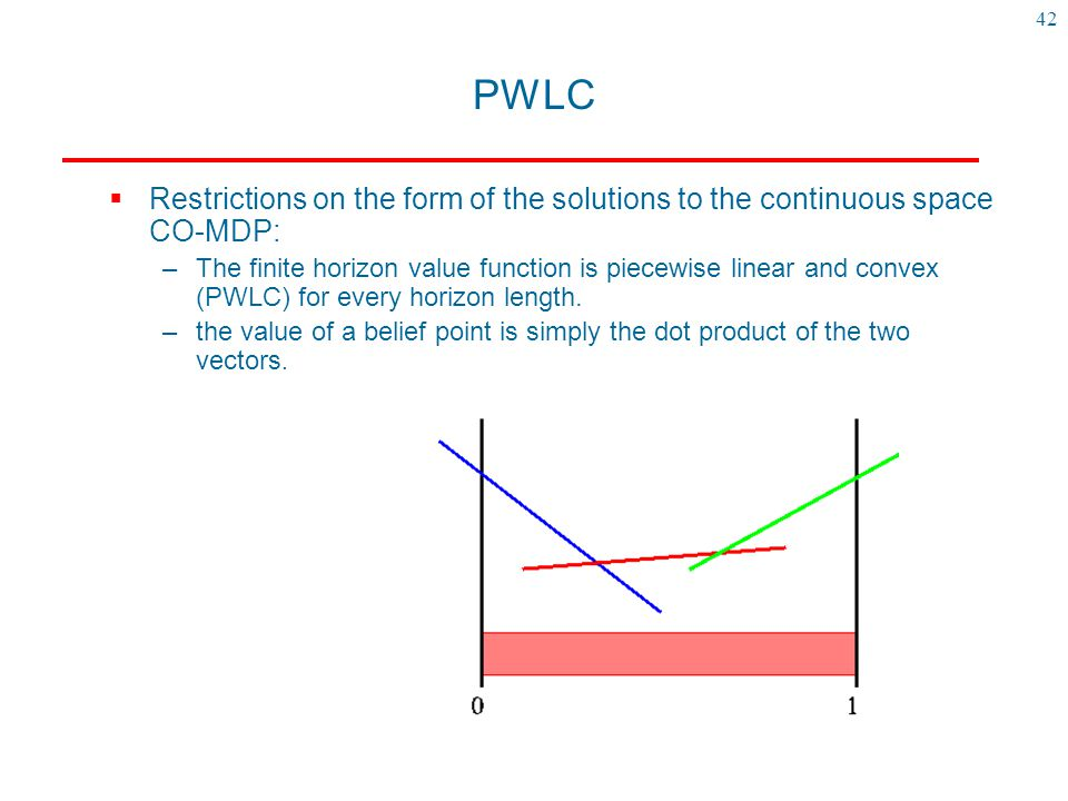 PWLC GOAL:for each iteration of value iteration, find a finite