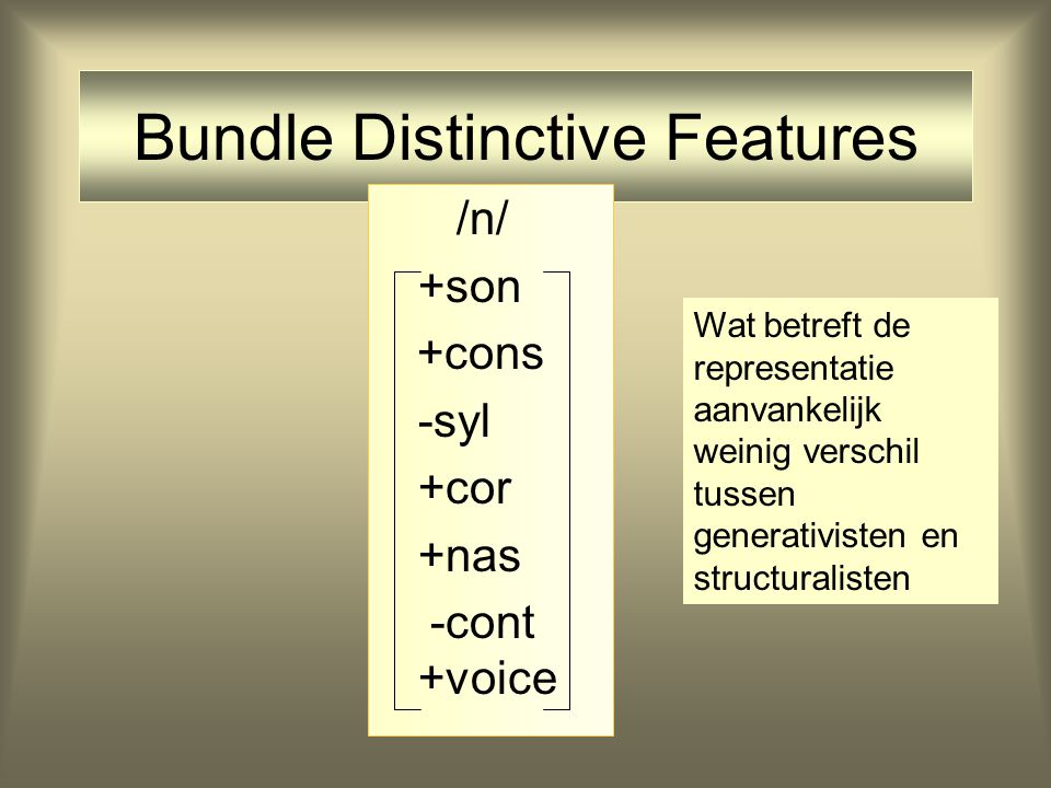 Bundle Distinctive Features