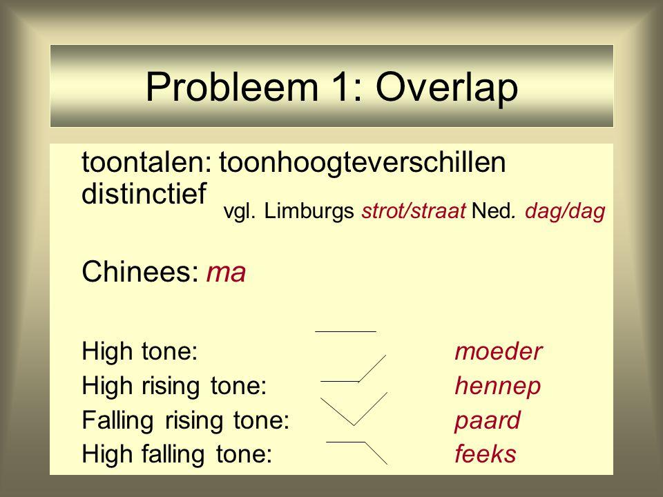 Probleem 1: Overlap toontalen: toonhoogteverschillen distinctief