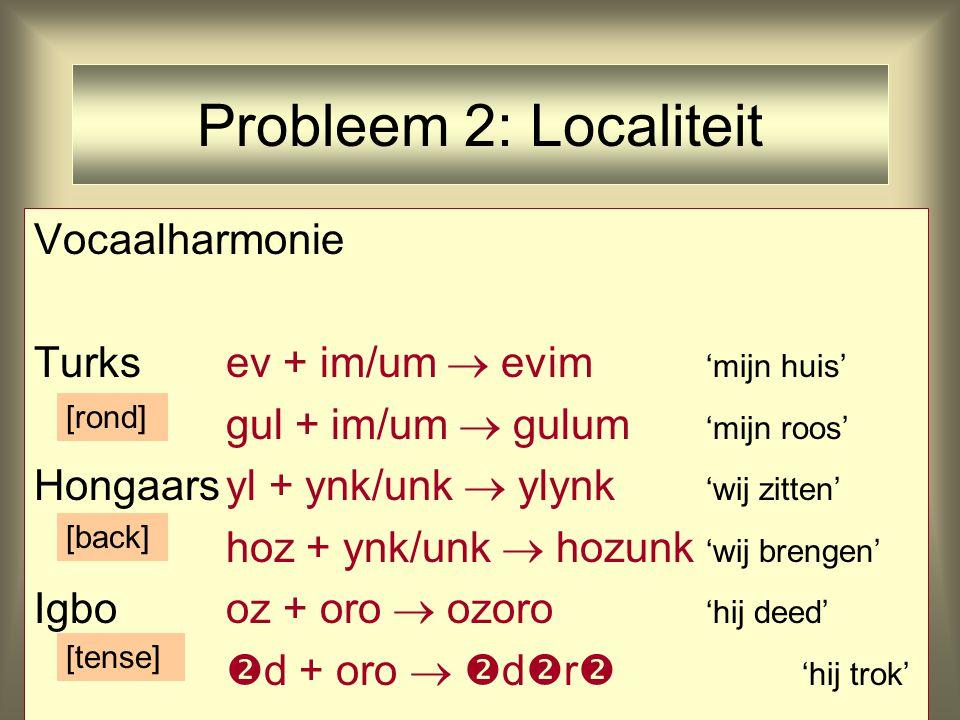 Probleem 2: Localiteit Vocaalharmonie