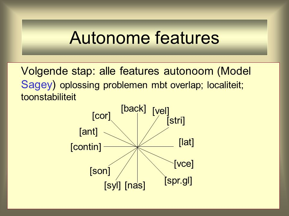 Autonome features Volgende stap: alle features autonoom (Model Sagey) oplossing problemen mbt overlap; localiteit; toonstabiliteit.