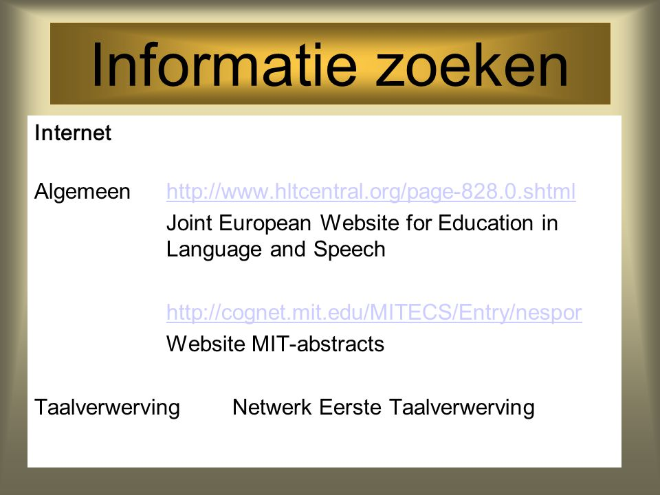 Informatie zoeken Internet