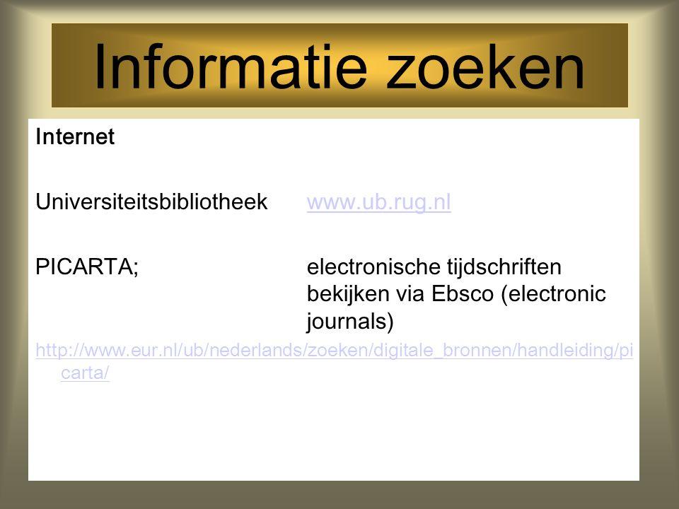 Informatie zoeken Internet Universiteitsbibliotheek www.ub.rug.nl