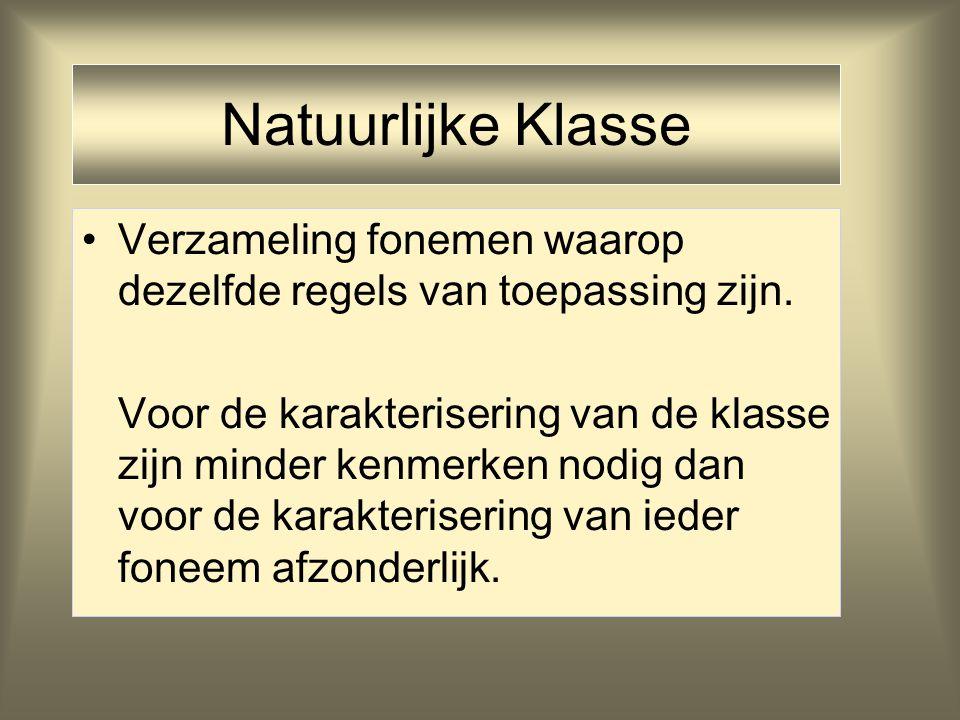 Natuurlijke Klasse Verzameling fonemen waarop dezelfde regels van toepassing zijn.