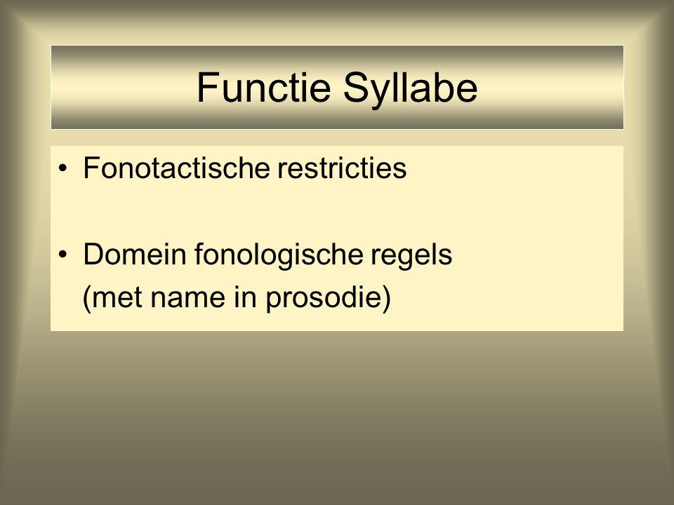 Functie Syllabe Fonotactische restricties Domein fonologische regels