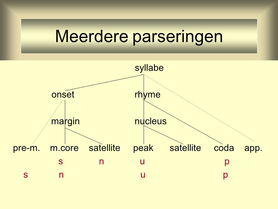 Meerdere parseringen syllabe onset rhyme margin nucleus