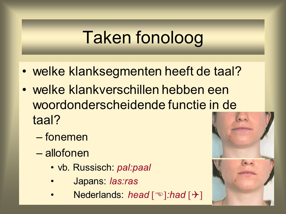 Taken fonoloog welke klanksegmenten heeft de taal