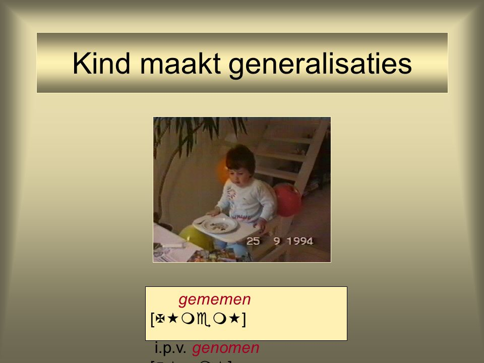 Kind maakt generalisaties