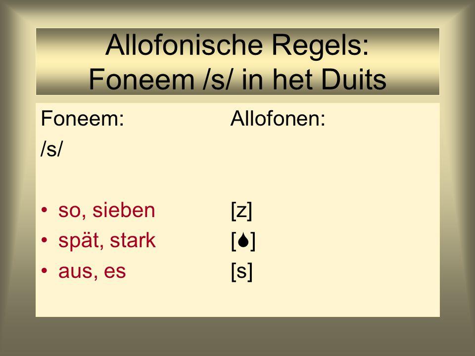 Allofonische Regels: Foneem /s/ in het Duits