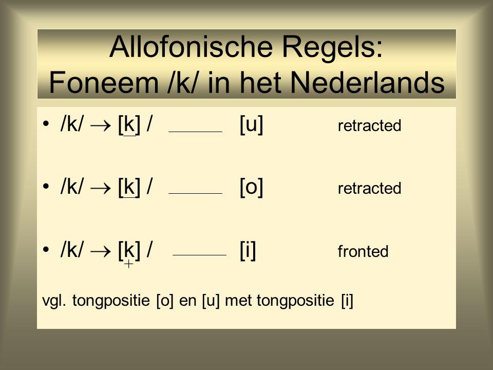 Allofonische Regels: Foneem /k/ in het Nederlands