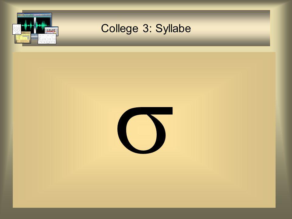 College 3: Syllabe 