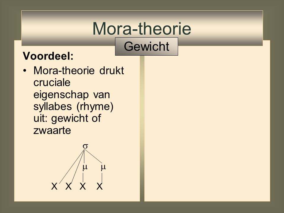 Mora-theorie Gewicht Voordeel: