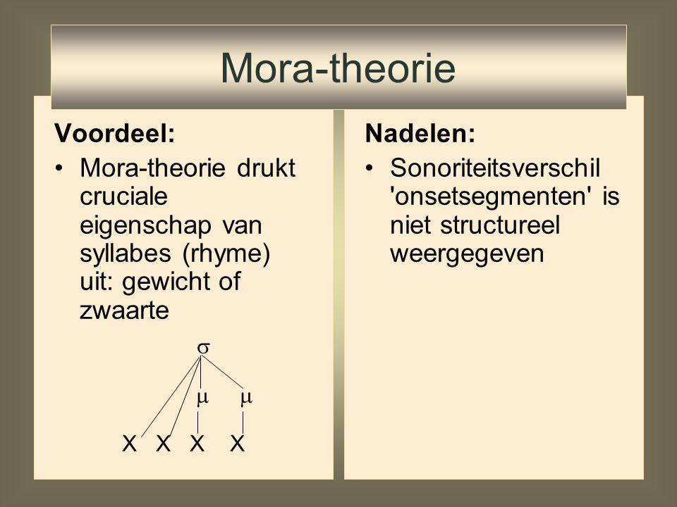 Mora-theorie Voordeel: