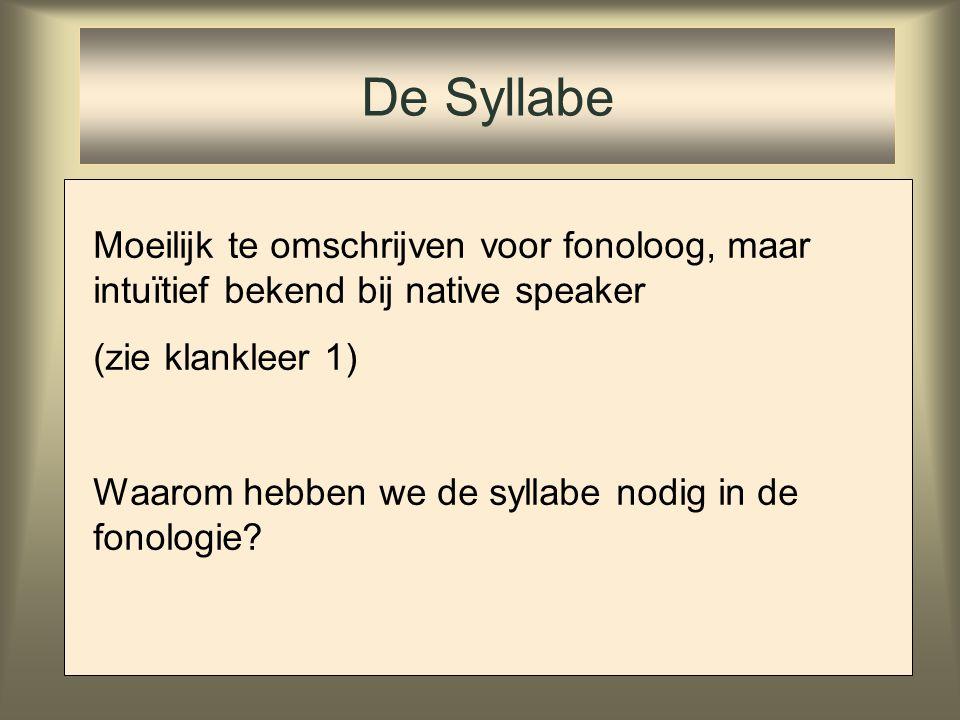 De Syllabe Moeilijk te omschrijven voor fonoloog, maar intuïtief bekend bij native speaker. (zie klankleer 1)