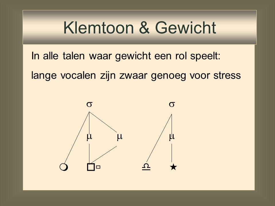 Klemtoon & Gewicht In alle talen waar gewicht een rol speelt: