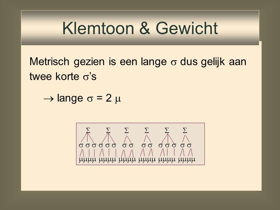 Klemtoon & Gewicht Metrisch gezien is een lange  dus gelijk aan twee korte 's. lange  = 2       