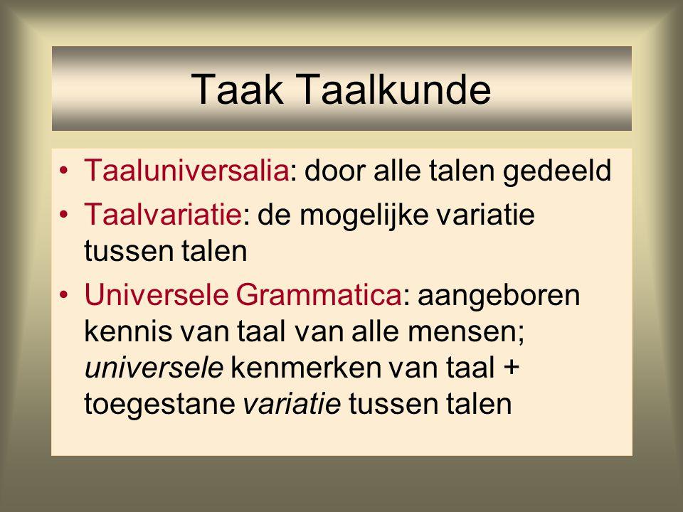 Taak Taalkunde Taaluniversalia: door alle talen gedeeld