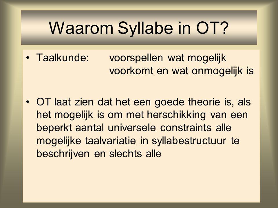 Waarom Syllabe in OT Taalkunde: voorspellen wat mogelijk voorkomt en wat onmogelijk is.