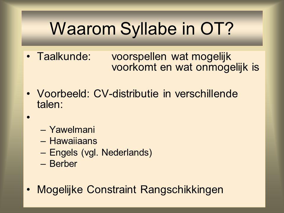 Waarom Syllabe in OT Taalkunde: voorspellen wat mogelijk voorkomt en wat onmogelijk is. Voorbeeld: CV-distributie in verschillende talen: