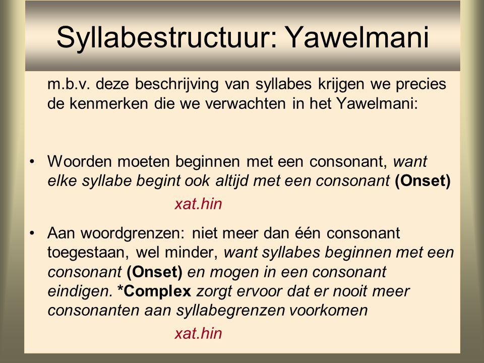 Syllabestructuur: Yawelmani