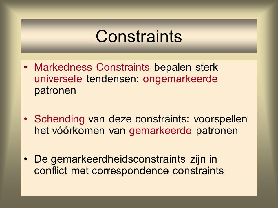 Constraints Markedness Constraints bepalen sterk universele tendensen: ongemarkeerde patronen.