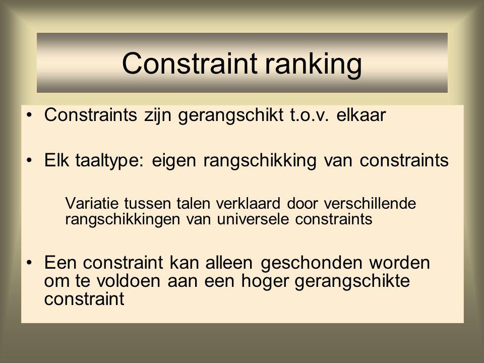 Constraint ranking Constraints zijn gerangschikt t.o.v. elkaar