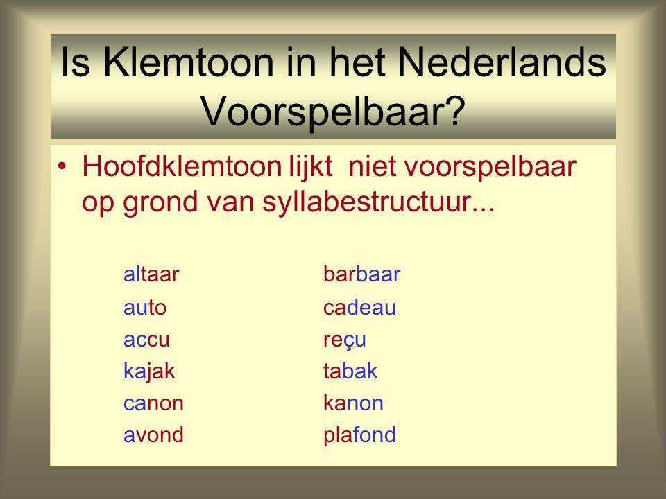 Is Klemtoon in het Nederlands Voorspelbaar