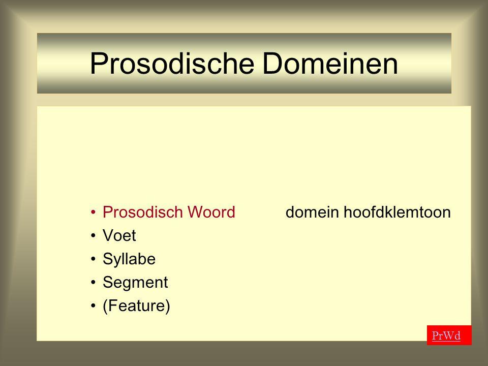 Prosodische Domeinen Prosodisch Woord domein hoofdklemtoon Voet