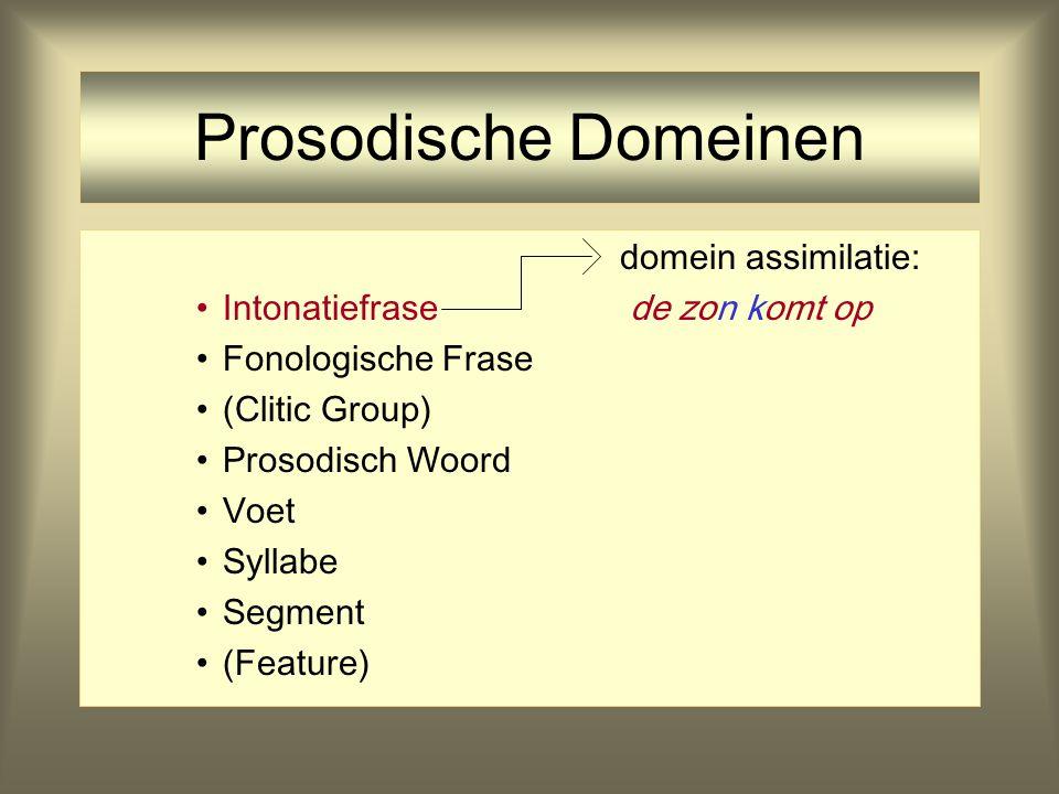 Prosodische Domeinen domein assimilatie: Intonatiefrase de zon komt op