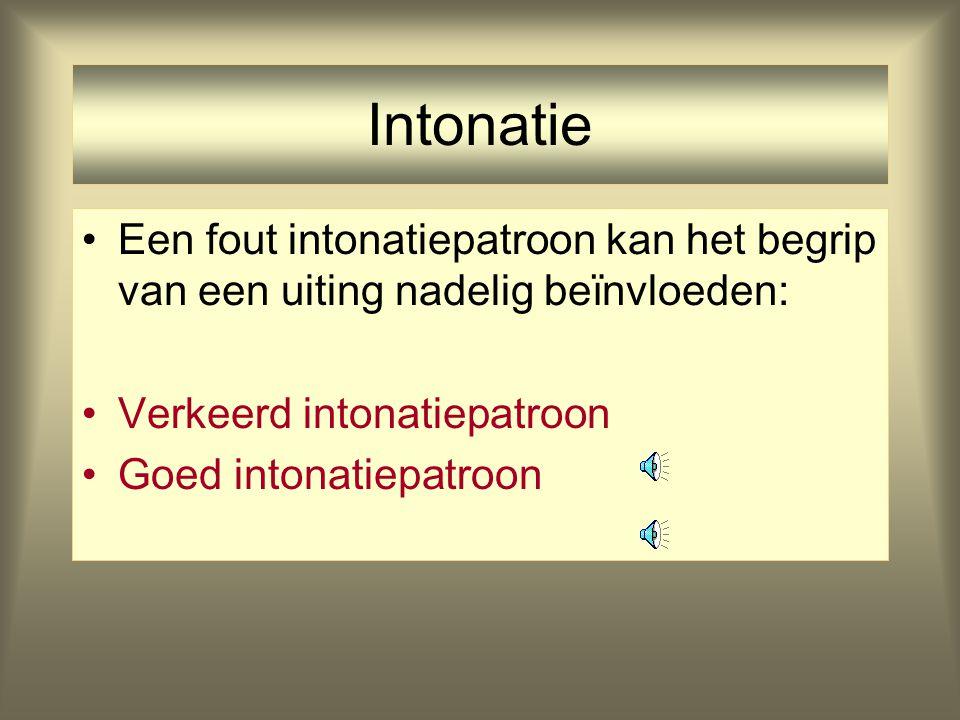 Intonatie Een fout intonatiepatroon kan het begrip van een uiting nadelig beïnvloeden: Verkeerd intonatiepatroon.