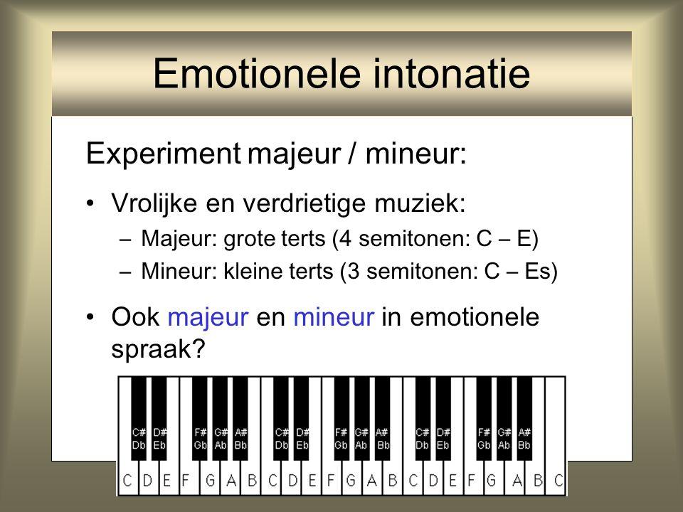 Emotionele intonatie Experiment majeur / mineur: