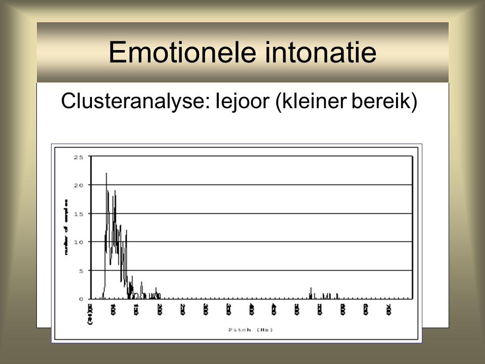 Emotionele intonatie Clusteranalyse: Iejoor (kleiner bereik)