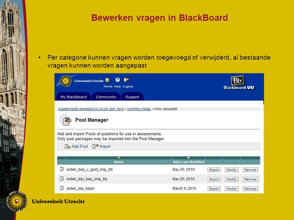 Bewerken vragen in BlackBoard