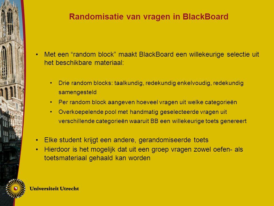 Randomisatie van vragen in BlackBoard