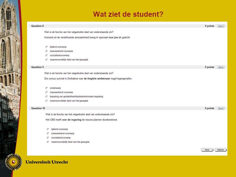 Wat ziet de student