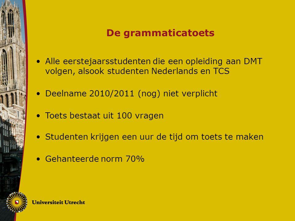 De grammaticatoets Alle eerstejaarsstudenten die een opleiding aan DMT volgen, alsook studenten Nederlands en TCS.