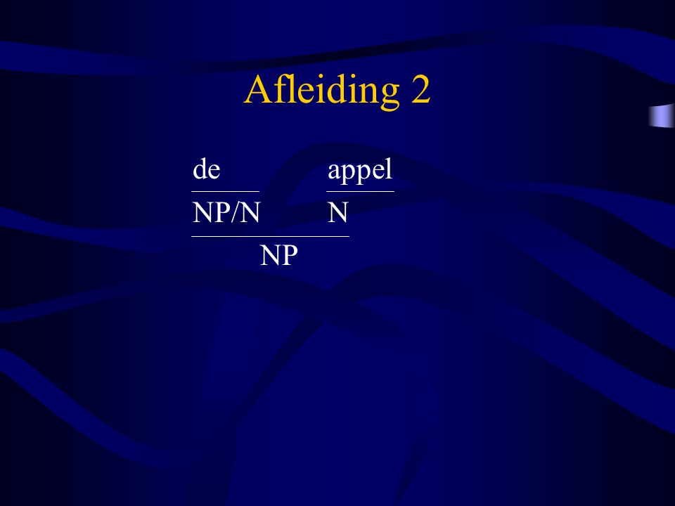 Afleiding 2 de appel NP/N N NP