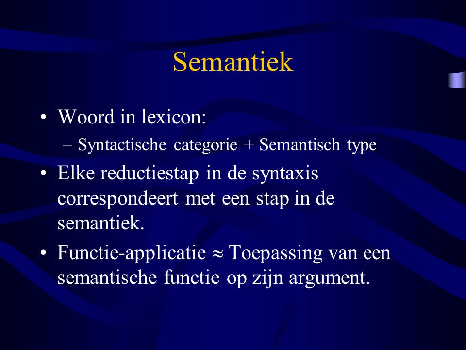Semantiek Woord in lexicon: