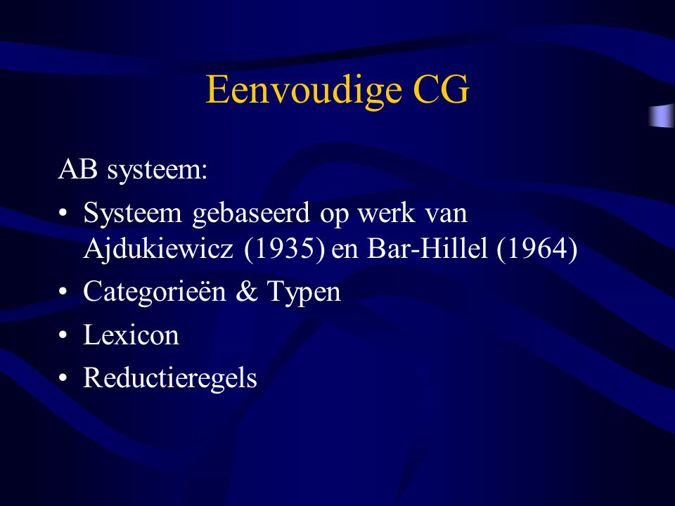 Eenvoudige CG AB systeem: