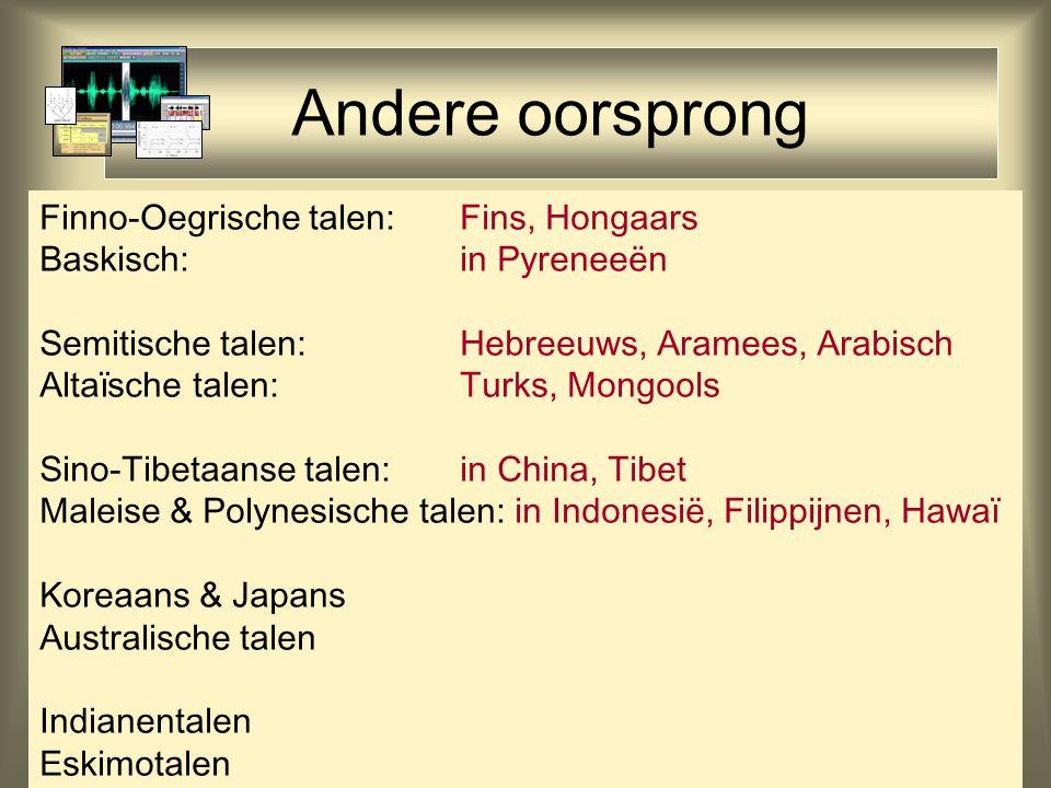 Andere oorsprong Finno-Oegrische talen: Fins, Hongaars