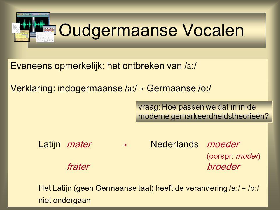 Oudgermaanse Vocalen Eveneens opmerkelijk: het ontbreken van /:/