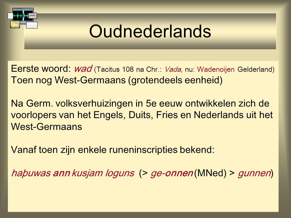Oudnederlands Eerste woord: wad (Tacitus 108 na Chr.: Vada, nu: Wadenoijen Gelderland) Toen nog West-Germaans (grotendeels eenheid)