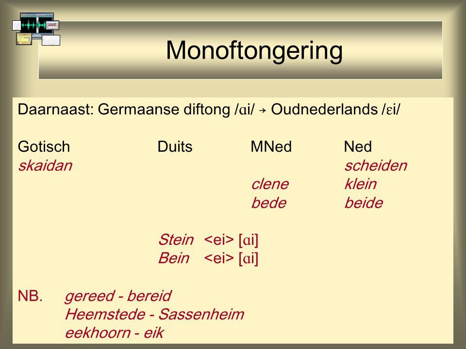 Monoftongering Daarnaast: Germaanse diftong /i/ → Oudnederlands /i/