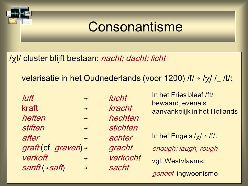 Consonantisme /t/ cluster blijft bestaan: nacht; dacht; licht