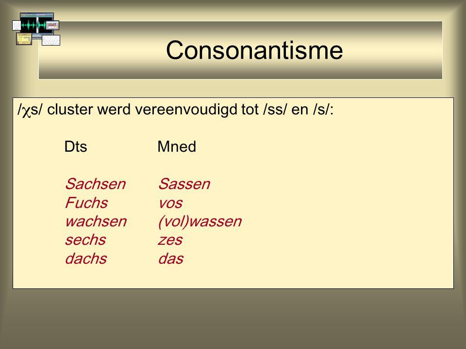 Consonantisme /s/ cluster werd vereenvoudigd tot /ss/ en /s/:
