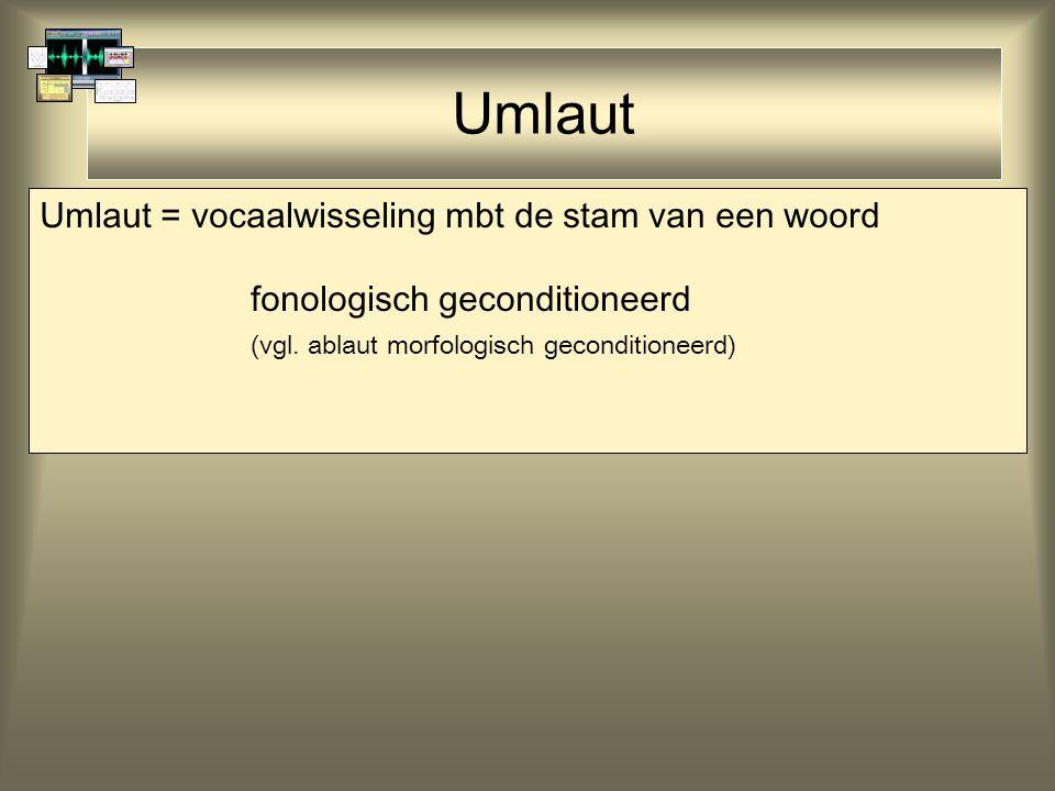 Umlaut Umlaut = vocaalwisseling mbt de stam van een woord