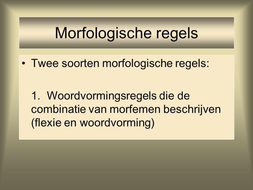 Morfologische regels Twee soorten morfologische regels: