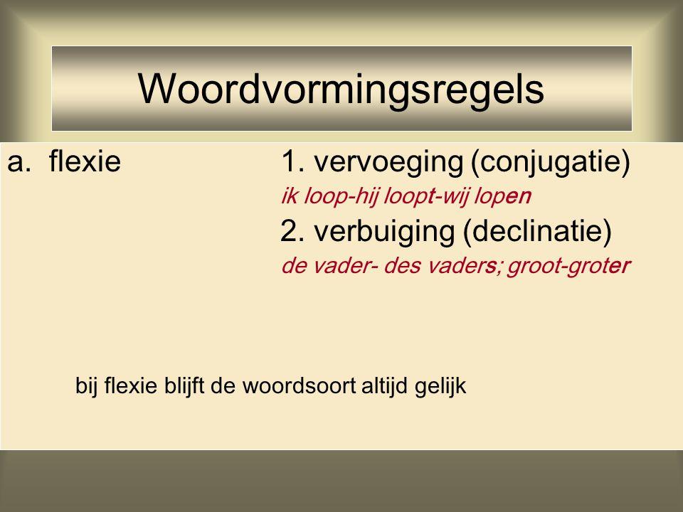 Woordvormingsregels a. flexie 1. vervoeging (conjugatie)