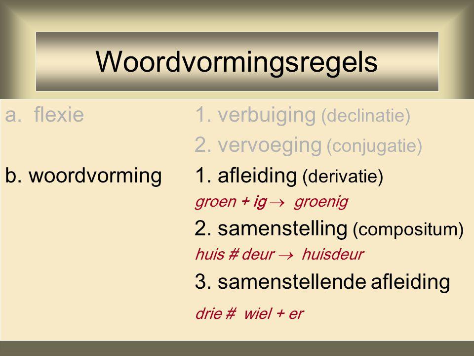 Woordvormingsregels a. flexie 1. verbuiging (declinatie)