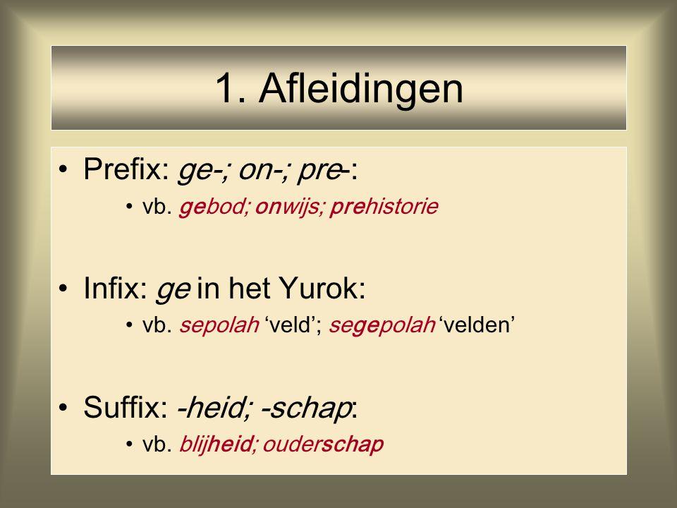 1. Afleidingen Prefix: ge-; on-; pre-: Infix: ge in het Yurok: